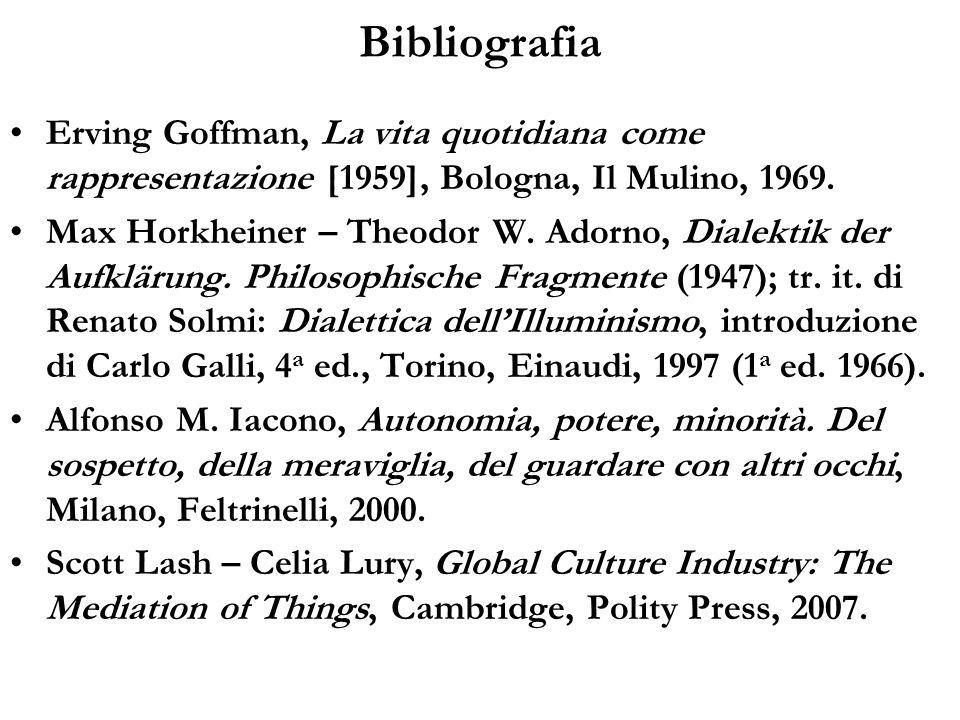Bibliografia Erving Goffman, La vita quotidiana come rappresentazione [1959], Bologna, Il Mulino, 1969.